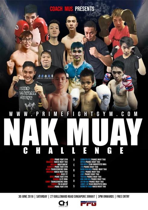 NAK MUAY CHALLENGE FIGHT CARD POSTER